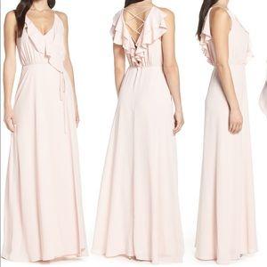 WAYF Jamie Ruffle Lace-Up Lattice Crepe Wrap Gown